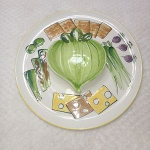 Other - Novelty Ceramic Chip N Dip Serving Set Bowl Tray